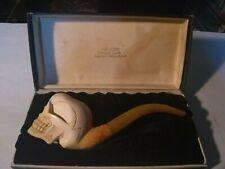 Aksu Genuine Block Turkish Meerschaum Skull Pipe W/ Box
