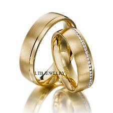 18K Yellow Gold Diamond Wedding Rings,His & Hers Matching Wedding Bands