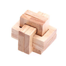 Wooden Wood 3D IQ Brain Teaser Acacia Kong Ming Lock Puzzle Educational Toy@Ev
