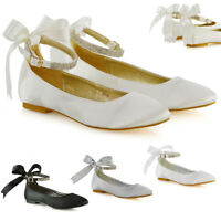 Womens Bridal Shoes Bow Diamante Ankle Strap Ladies Flats Satin Ballet Pumps 3-9