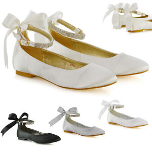 Womens Bridal Shoes Bow Diamante Ankle Strap Ladies Flats Satin Ballet Pumps 3-9