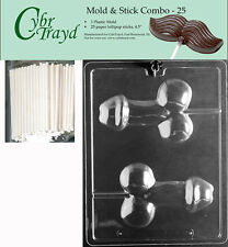 Medium Penis Lolly Adult Chocolate Mold w/Cybrtrayd Instructions FREE STICKS