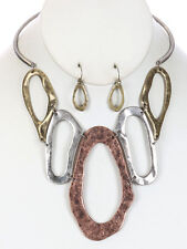 Tri Tone Big Oval Hammered Hoop Gradual Antique Look Necklace Earring Set