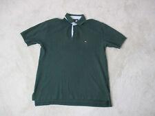 VINTAGE Tommy Hilfiger Polo Shirt Adult Large Green Flag Logo Rugby Casual Men *