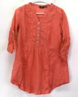 Fig Women's M Medium 3/4 Roll-Tab Sleeve V-Neck Ruffle Tunic Blouse Top Coral