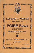 80 DOMART-EN-PONTHIEU ETS POIRé FABRIQUE DE MEUBLES TARIF 1933
