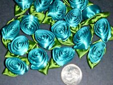 50 Satin Ribbon Roses -Dark Teal/ Moss Green Leaf-Sewing Bow Craft- New