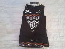 MORGAN t-shirt top noir et motifs ethniques façon noué nombril neuf S Prix 35€