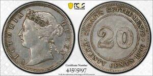 Straits Settlements silver QV 20 cents 1896 about uncirculated PCGS AU55