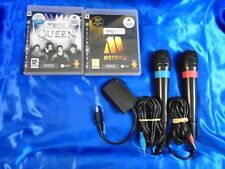 ps3 SINGSTAR x2 MOTOWN + QUEEN + 2 WIRED Official Mics Microphones PAL