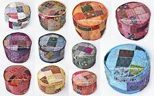 10 PC Wholesale Lot Embroidered Round Indian Pouf Ottoman Foot Stool Cover Decor