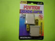 20PK Powtech Grounding Adaptor 2 to 3 prong 110v AC outlet grounding adapters
