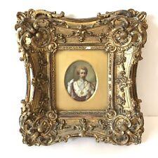 Fine Antique Portrait Miniature On Porcelain Plaque Napoleon III Gilt Framed