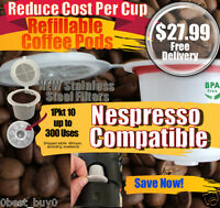 10pc Refillable Reusable Nespresso Capsule set, Built In Stainless Steel Filter
