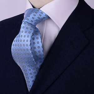 Blue Geometric Squares Classic Tie Mens 8cm Necktie Chemist Fashion