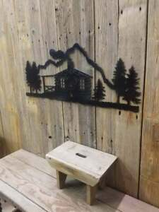 LOG CABIN Metal Scene/Large/lodge/Home/Sign/décor
