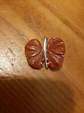 DARK RED JADEITE CHINESE JADE CARVED BUTTERFLY PENDANT enhanced sterling 925 GSJ