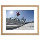 Skate Boarding Challenge Flying Stair Picture Framed Wall Art Print