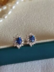 BRAND NEW 18CT WHITE GOLD SAPPHIRE AND DIAMOND EARRINGS Summer Sale