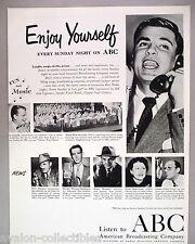 ABC Radio Shows PRINT AD - 1950 ~~ Bert Parks, Walter Winchell, Louella Parsons