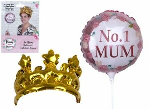 Pink Mum Balloon with Inflatable Gold Crown for your Number 1 Mum on Mothers Day