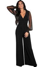 Women's New Black Long Sleeve V Neck Wide Boot Leg Party Jumpsuit + Plus Size