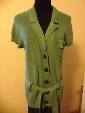 AK AnnKlein Green CapSleeve Cotton Sweater  TieBelt  ButtonFront Sz XL
