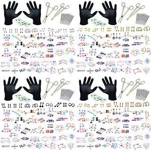 BodyJ4You 156PC Professional Body Piercing Kit Lot 14G16G Random Mix Jewelry Set