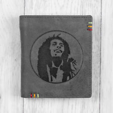 Genuine Leather Mens Wallet with Bob Marley Jamaica Design by Mustard