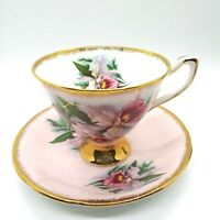 Clare Bone China Made In England Tea Cup And Saucer Pink Orchids/Gold Trim