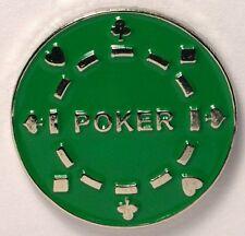 POKER CHIP - LAPEL PIN BADGE - GREEN CASINO GAMBLING LAS VEGAS GAMBLER  (DB-17)
