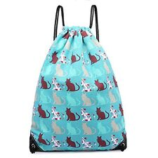 Cotton Canvas Waterproof Printed Drawstring Gym Work Backpack Rucksack (Cat T...
