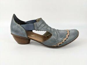 Rieker Blue Leather Low Heel Shoes Uk 6 Eu 39