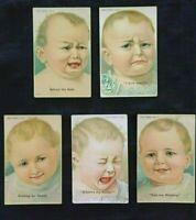 ~Cute Lot of 5 Antique Baby Greetings~Postcards~ Babies Habits~Vintage-m522