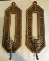 Vintage Wicker Look Wall Candle Sconces Homco