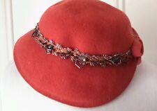 Vintage 1950s Evelyn Varon Model Merrimac Peachbloom Velour Fur HAT & pin sz 22