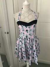 Quirky Hell Bunny Bang Print Halter neck 50s swing party dress M with pockets