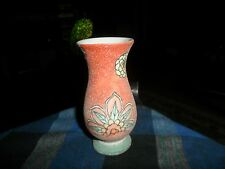 """Vintage HAND PAINTED FLOWER Porcelain Frosted Mini VASE 4 5/8"""" Beautiful !"""