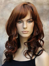 OFF CENTER Skin top WIG w. bangs Long Wavy Red auburn mix JSPP G130