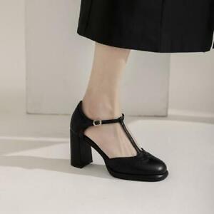 Women's 2021 Fashion Leather Square Toe T-Strap Block Heel Mary Jane Shoes SKGB
