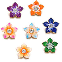 10PCS Mixed Flower Crystal Chunk Charm Snap Button Fit 18mm Drill Noosa Jewelry
