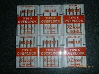 5 Klasse Type A B E G J K most Overlocker Sewing Machine Needles 80 /12 Janome