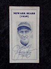 Vintage 1938 Newark Bears Player Roster & Training Schedule Johnny Neun Auto 648