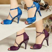 Cristal Strass Tacones Zapatos De Raso De Baile Latino Suave Nueva Mujer Tango