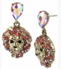Gold Tone Crystal Earrings Msrp $35.00 Nwt Betsey Johnson Lion Head Drop