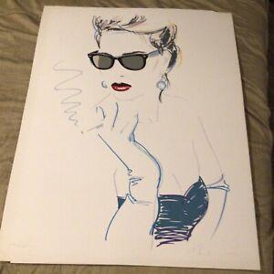 "Dennis Mukai Litho 1990 Beautiful Short Hair Woman Sunglasses Smoking 28""x36"""