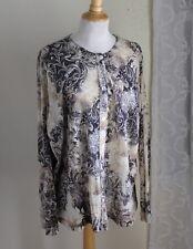 Laura Ashley -Sz 2X Fantasy Dream Swirl Romantic Paisley Mesh Knit Cardigan Top