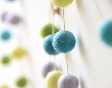 MINT GREEN garland. Felt balls garland. Boy Room.Kids, Cloud Den Wall Decor.