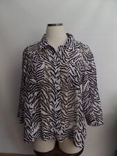 BAMBOO TRADERS LADIES ANIMAL PRINT, BROWN & WHITE BUTTON FRONT TOP/BLOUSE SZ:1X