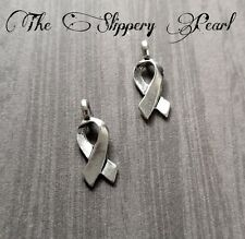 10 Awareness Ribbon Charms Antique Silver Tone Cancer Awareness Pendants